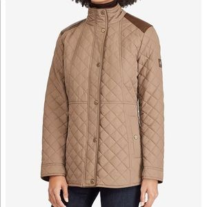 Lauren Ralph Lauren Faux-Leather-Trim Quilted Coat